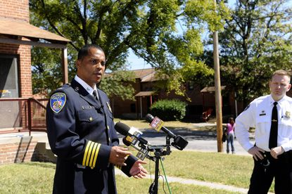 Col. Darryl DeSousa discusses the shooting of a 9-year-old In the 1000 block of Bethune Street in the Cherry Hill neighborhood.
