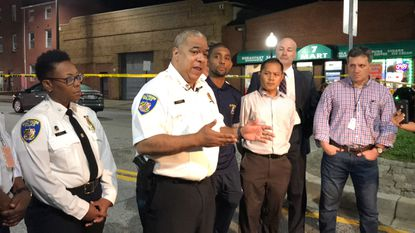 Baltimore Police Commissioner Michael Harrison speaks to the media this summer about a shooting that took place in East Baltimore. Some believe the media contributes to the perception of Baltimore being overly dangerous and crime-ridden.