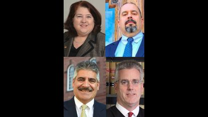 The candidates for two Harford County Circuit Court judgeships in the November general election are, clockwise from left, Diane Adkins Tobin, Thomas Ashwell, Judge Paul Ishak and Judge Lawrence Kreis.