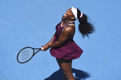 Serena Williams of the U.S. reacts after winning a point during her second-round singles match against Christina McHale at the ASB Classic tennis tournament in Auckland, New Zealand, Thursday, Jan 9, 2020.