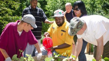 Participants in Gallagher Services' Green Initiative water plants. The Timonium-based program offers educational and employment services to adults with intellectual disabilities.