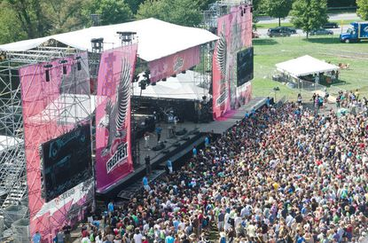 View of the west stage as Two Door Cinema Club perform at the 2011 Virgin FreeFest at Merriweather Post Pavilion.