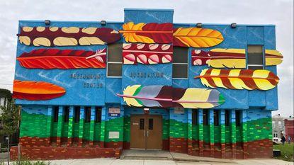 Greenmount Recreation Center, featuring feathers representing birds found in Maryland. 2304 Greenmount Ave. - Original Credit: Maria Wolfe/Baltimurals