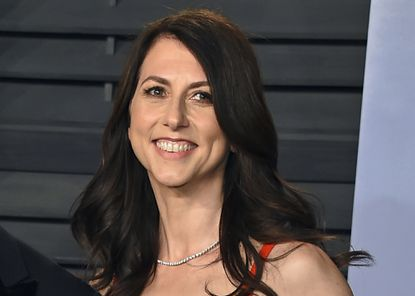 In this March 4, 2018 file photo, then-MacKenzie Bezos arrives at the Vanity Fair Oscar Party in Beverly Hills, Calif. A donation from author and philanthropist MacKenzie Scott to Morgan State University has become the largest single donor gift in the historically Black college's history. (Photo by Evan Agostini/Invision/AP, File)