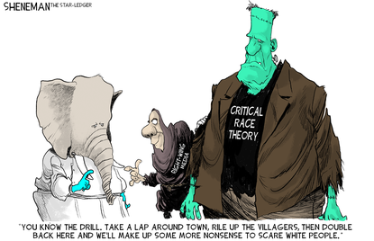 Creating the critical race theory monster. (Drew Sheneman, Tribune Content Agency).