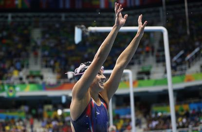 Becca Meyers celebrates winning the gold medal in the women's 200m individual medley - SM13 Final at the Paralympic Games on Sept. 10, 2016, in Rio de Janeiro.