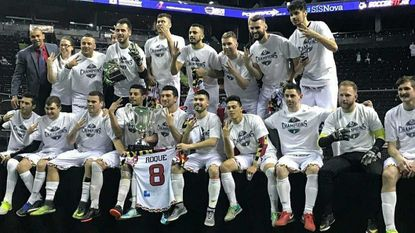 The Blast celebrate their Major Arena Soccer League championship Sunday night after beating the Monterrey Flash, 4-3, at Arena Monterrey in Nuevo Leon, Mexico.