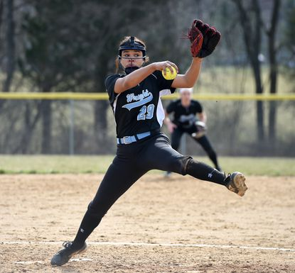 Miranda Badham, shown here pitching for C. Milton Wright in 2019, led Edgewood to a 2-1 win over North East on Monday.