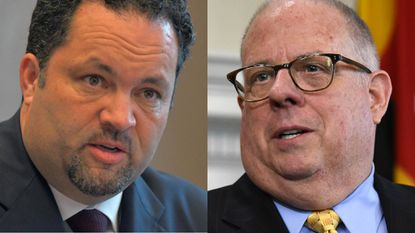 Democratic challenger Ben Jealous, left, is trailing incumbent Gov. Larry Hogan by about $9 million in funds.