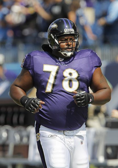 Baltimore Ravens tackle Bryant McKinnie warms up before a game Sept. 18 in Nashville, Tenn.