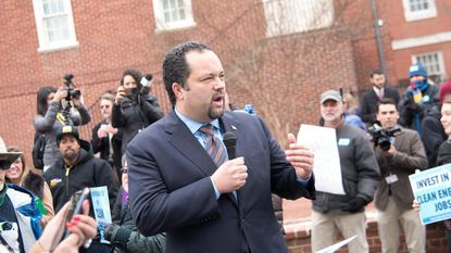 Candidate for governor Ben Jealous speaks at a rally for the Clean Energy Jobs Initiative before the opening of the General Assembly on Lawyers Mall in Annapolis.