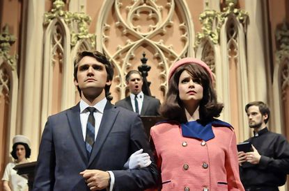 """From left: Lisa Perry as Lady Bird Johnson, Nathan Wyatt as Bobby Kennedy, Alex Rosen as Lyndon B. Johnson, Caitlin Vincent as Jackie Kennedy, and Stephen Campbell as Reverend Oscar L. Huber in """"Camelot Requiem."""""""