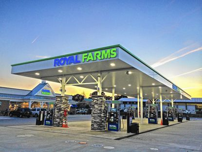 The Royal Farms gas station and store located at Maryland Route 32 and Route 26.