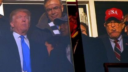 In 2016, then President-elect Donald Trump, Rep. Andy Harris (center, top) and Rudy Giuliani (right) shared a suite box on the Navy side during the second quarter of the Army-Navy football game in Baltimore. (Karl Merton Ferron/Baltimore Sun)
