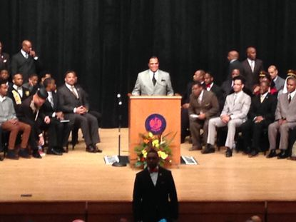 Louis Farrakhan predicted violence in Ferguson this week and castigated black leaders in a speech Nov. 22 at Morgan.