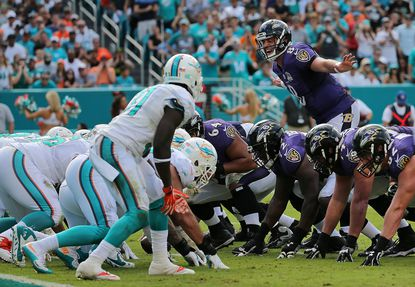 Ravens quarterbackMatt Schaub calls a play during a game against the Miami Dolphins at Sun Life Stadium on Dec. 6, 2015 in Miami Gardens, Fla.
