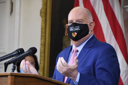 Maryland Gov. Larry Hogan discusses the coronavirus pandemic Thursday during a news conference at the State House in Annapolis.