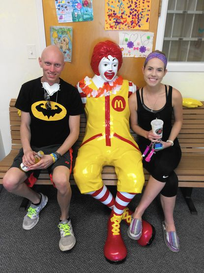 Robby Griesmye, of Westminster, sits with his fiancee Kate Chucko at the Ronald McDonald House in Baltimore.