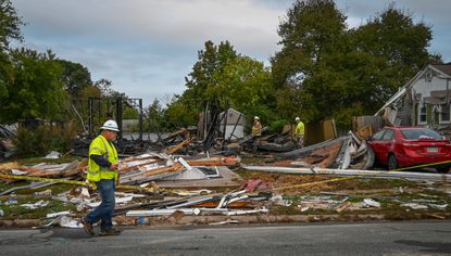 Little remains of a house in the 2500 block of Thornberry Drive in Edgewood following an explosion Sunday night.