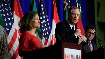 U.S. Trade Representative Robert Lighthizer, center, speaks at a press conference in October with Canadian Minister of Foreign Affairs Chrystia Freeland, left, and Mexican Secretary of Economy Ildefonso Guajardo Villarrea.