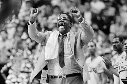 In this March 30, 1985, file photo, Georgetown coach John Thompson shouts to the floor during the Hova's NCAA semifinal game against St. John's at Rudo Arena in Lexington, Ky.