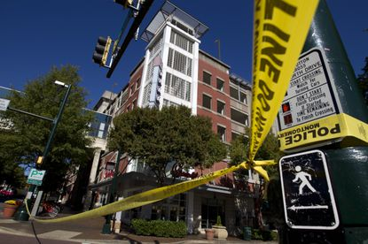 A Silver Spring parking garage is seen where a police officer died from a self-inflicted injury Monday.