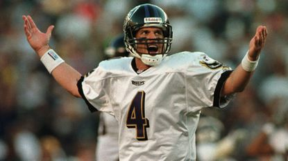 Ravens quarterback Jim Harbaugh expresses frustration after an incomplete pass to Michael Jackson in the fourth quarter in November 1998 at Qualcomm Stadium in San Diego.