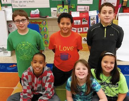 Members of the 3rd-5th grade Eco-Explorers group at Reisterstown Elementary School are shown at the school Dec. 16. Pictured from left, back row: Nathan Reynolds, Alex Gabriel and Benjamin Brisk. From left, front row: Christopher Sampson, Madilynn Blumberg and Rachel Lubovsky.