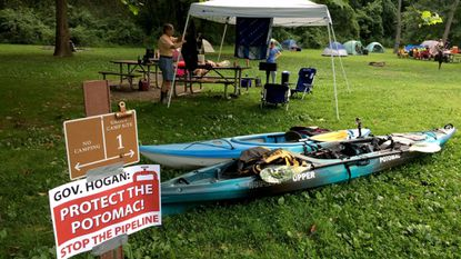Activists with the Potomac Riverkeeper Network set up at Paw Paw Tunnel Campground to protest TransCanada's plans to build a natural gas pipeline beneath the Potomac River in Western Maryland.