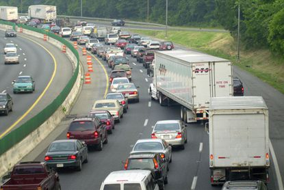 Traffic crawls southward in a view from Frederick Rd in the aftermath of a crash on the outer loop of the Baltimore Beltway at Wilkens Avenue in 2002. Congestion like this is going to become more commonplace if growth trends continue.