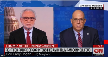 """Maryland Gov. Larry Hogan, right, appeared on CNN's """"The Situation Room"""" with host Wolf Blitzer on Wednesday, Feb. 17."""
