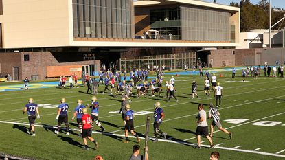 UCLA players take part in the first day of spring football Tuesday at Spaulding Field on the Westwood campus. (Al Seib / Los Angeles Times)
