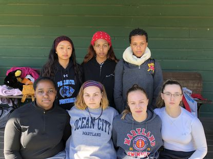 Back row, from left, seniors Mia Robinson, Sarah Klukosky, Molly Cronin and Colleen Blasko and front row, Tracy Pham, Lauren McFadden and Kennedy Essex hope to lead Pallotti's swim team to the top of the IAAM C Conference.