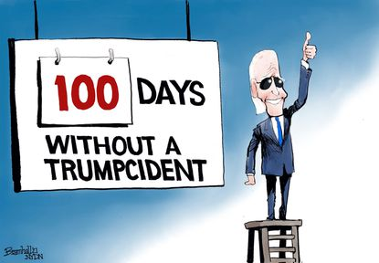 """Bill Bramhall's editorial cartoon for Friday, April 30, 2021, as President Biden marks his first 100 days in the White House """"without a Trumpcident."""""""