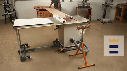 If you're using a roller stand with a saw table, make sure the material will be properly supported when it clears the stand. If not, it might jam the blade or get thrown clear and could cause an accident.