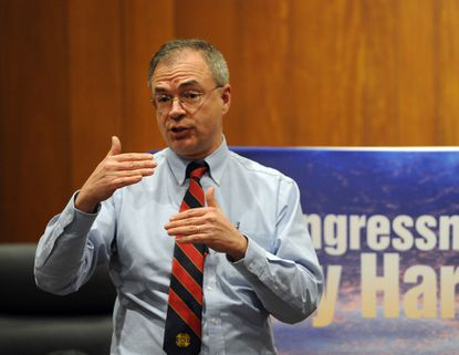 U.S. Congressman Andy Harris speaks to the audience gathered at Bel Air Town Hall