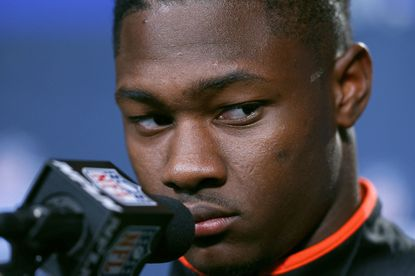 Former Maryland wide receiver Stefon Diggs reacts to a question from the media during the NFL scouting combine.