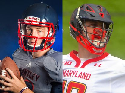 The image on left is from when Jared Bernhardt played football in at Lake Brantley High School in 2014. The image on the right is from when he played lacrosse for the University of Maryland in 2017. Photo credit on left: Joshua C. Cruey/Orlando Sentinel. Photo credit on right: Karl Merton Ferron/Baltimore Sun