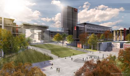 A view of a possible quad in conceptual renderings of the proposed Under Armour campus in Port Covington.