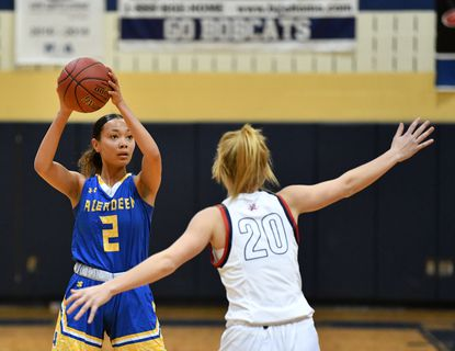 Aberdeen's Cassandra Smith, shown in game action against Bel Air last month, scored 24 points Thursday night to lead the Eagles upset of the previously undefeated Bobcats.