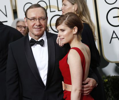 Kevin Spacey and Kate Mara arrives at the 72nd Annual Golden Globe Awards show at the Beverly Hilton Hotel in Beverly Hills, Calif., on Sunday.