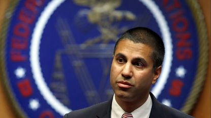 Federal Communications Commission Chairman Ajit Pai arrives for an FCC meeting in Washington. President Trump on Tuesday night tweeted his displeasure with an action taken against the Sinclair Broadcast Group at Pai's behest last week.