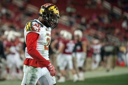 Maryland defensive back Sean Davis looks on during the third quarter of the Foster Farms Bowl at Levi's Stadiumin 2014.