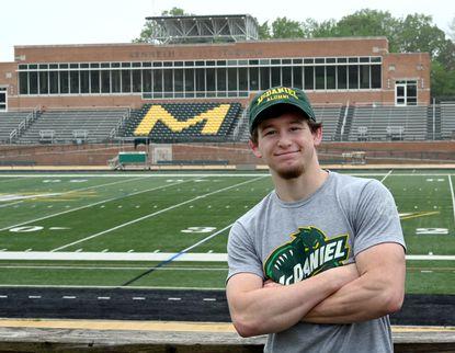 Ryker Eckenbarger, McDaniel College Class of 2020 and standout wrestler, at Kenneth R. Gill Stadium.