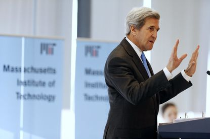 Secretary of State John Kerry speaks during a conference on climate change and innovation in clean energy at the Massachusetts Institute of Technology in Cambridge, Mass., Monday, Jan. 9, 2017. (AP Photo/Michael Dwyer)