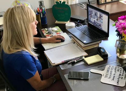 Tina Purtell, a fourth-grade teacher at Emmorton Elementary School, meets her students online for the first day of the Harford County Public Schools 2020-21 school year last month. File.