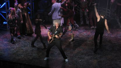 Queen guitarist Brian May during guest appearance on opening night of 'We Will Rock You'