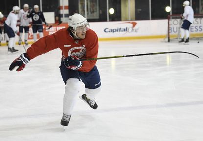 Capitals forward T.J. Oshie, skating during a team practice in Arlington, Va., says when things are going well for a hockey team, it is easy to forget how you created that success.