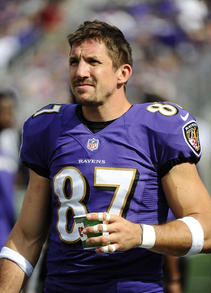 Ravens tight end Dallas Clark stands on the sidelines against the Cleveland Browns last September.