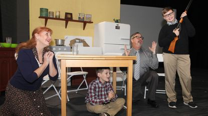 """Pasadena Theatre Company presents 'A Christmas Story' Nov. 30-Dec. 9 at Stage & Screen Studios in Millersville. Christy Stouffer plays """"Mother,"""" Tyler Swain is """"Randy,"""" Rick Estberg plays """"Old Man"""" and Jonathan """"Jonny"""" Reichert, of Pasadena, performs the lead role as """"Ralphie."""""""